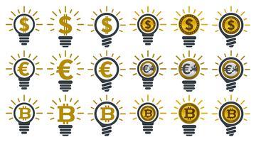 Glühbirnen mit Währungen vektor