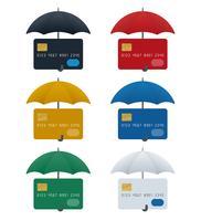 Regenschirmikonen mit Kreditkarten vektor