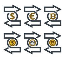 Ändern Sie die Symbole mit Währungen vektor