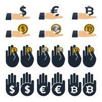 Währungen in Händen vektor