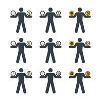 Geschäftsmann, der Uhr und Währung balanciert