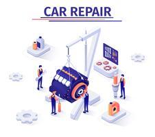 Werbebanner mit Motor Reparaturprozess vektor