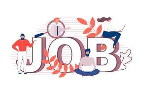 Flache Karikatur-enorme Buchstaben, die Wort Job Banner machen