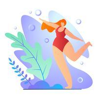 Flicka som gör övningar i baddräktecknad filmlägenhet.