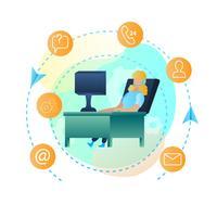 Illustrations-Mädchen-sitzender Computer-Onlinedienst
