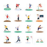 Uppsättning av ikoner för sportspelare