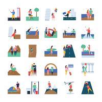 Resor och picknick Ikonuppsättning vektor