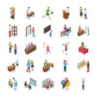 Högskolan och universitetsstudenter platt ikoner set vektor