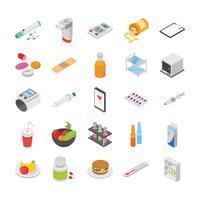 Diabeteskontroll och andra medicinska ikoner set