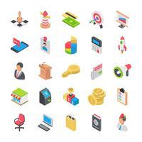 Business platt ikoner vektor