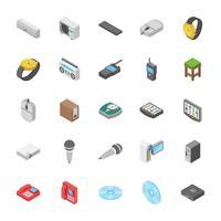 Isometrisk uppsättning av elektroniska och andra objektikoner