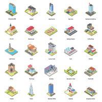 Byggnader Isometriska Ikoner Set