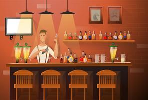 Bartender gör drycker