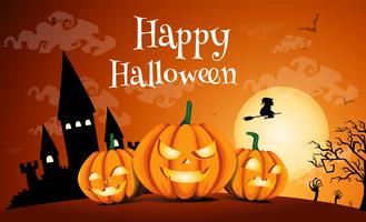 glad halloween med mörkt slott. vektor