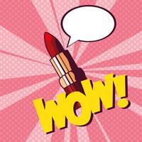 Lippenstift mit Sprechblase im Pop-Art-Stil