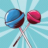 lollipop godisar i pop art stil vektor