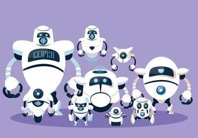 Roboterkarikatur eingestellt über purpurroten Hintergrund