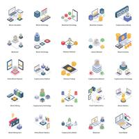 Bitcoin und Cryptocurrency Isometric Icons vektor