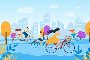 Karikatur-Mann-Frauen-Familie, die in Stadt-Park radfährt