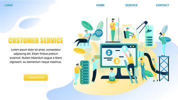 Fahnen-Illustrations-Leute-Kundenbetreuungs-Arbeitskraft vektor