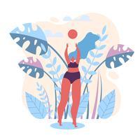 Sommarvolleyboll på strandvektorillustration. vektor