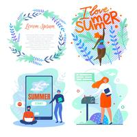 Set Poster är skriven Jag älskar sommar, bokstäver. vektor