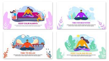 Behalten Sie Ruhe, immer Zeit für Meditation, entspannen Sie sich Banner vektor