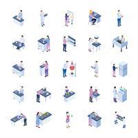 vetenskapligt laboratorium isometriska ikoner pack