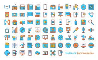 Ikonuppsättning för media och kommunikation vektor