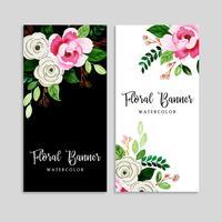 Aquarell Blumen Banner Set vektor