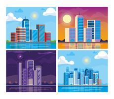 uppsättning av stadsbilden byggnader scen vektor