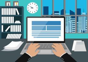 Büroangestellter Arbeitsbereich mit der Hand eingeben