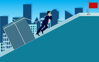 Geschäftsleute ziehen den Beton den Hang hinauf