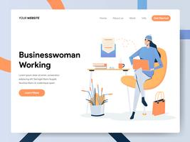 Landing Page Template der Geschäftsfrau Working on Desk