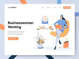 Landningssidamall av affärskvinnan som arbetar på skrivbordet