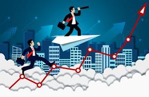 Affärsmankonkurrens på pil upp till himmel