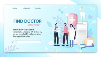 Hitta läkares onlinetjänst vektor