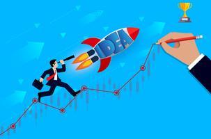 Geschäftsmannblick mit dem Fernglas. und Space-Shuttle-Starts gehen zum Ziel