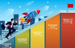 Affärsmän och raketkonkurrens uppför lutningen på stapeldiagram. vektor