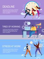 Deadline Stress på jobbet Trött på arbetande människor vektor