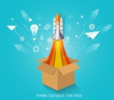 Tänk utanför lådan. rymdfärja lanserar till himlen.