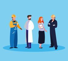 läkare med en grupp professionella