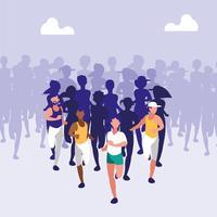 sportliche Leute, die ein Rennen laufen vektor