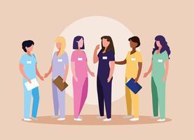 grupp läkare kvinnlig med uniform