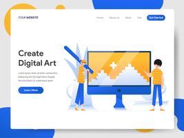 Zielseitenvorlage für das Erstellen von digitaler Kunst auf dem Computer vektor