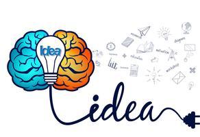 Kreative Geistesblitzidee mit Gehirn- und Glühlampenikone. vektor