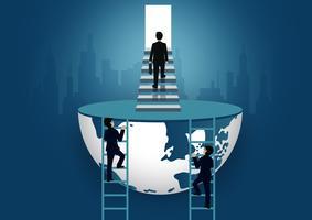 Affärsmän går uppför trappan till dörren. trappa upp stegen till framgångsmål i livet och framsteg i jobbet. av den högsta organisationen. affärsekonomi koncept. ikon. världen vektorillustration