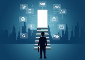 Affärsmän går upp för trappan för att lyckas