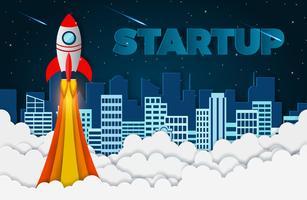 Start rymdfärja som startar till himlen