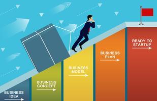 Geschäftsmänner, die den Beton die Steigung auf Balkendiagramm hochziehen